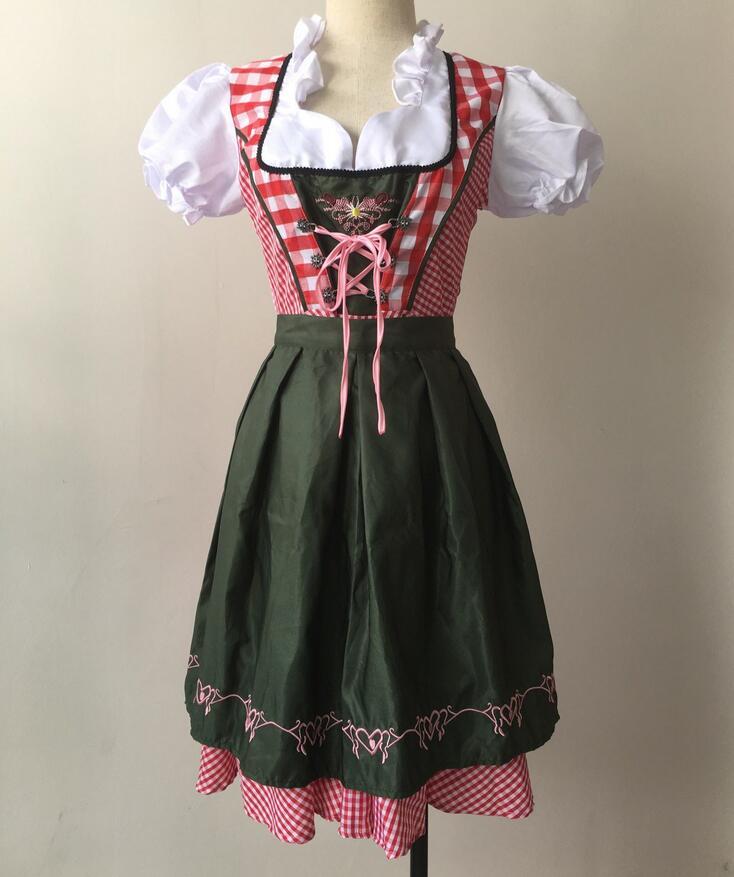 Women Oktoberfest Costume Plus Size Red Plaid German Oktoberfest Beer Girl Costume Dirndl Dress Beer Wench Biergarten Uniform