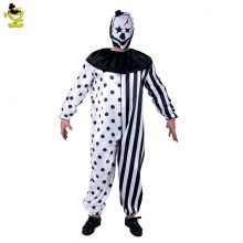 2018 plus size striped kill clown party costumes men jumpsuit mask killer clown costume Halloween scary Party cosplay costumes