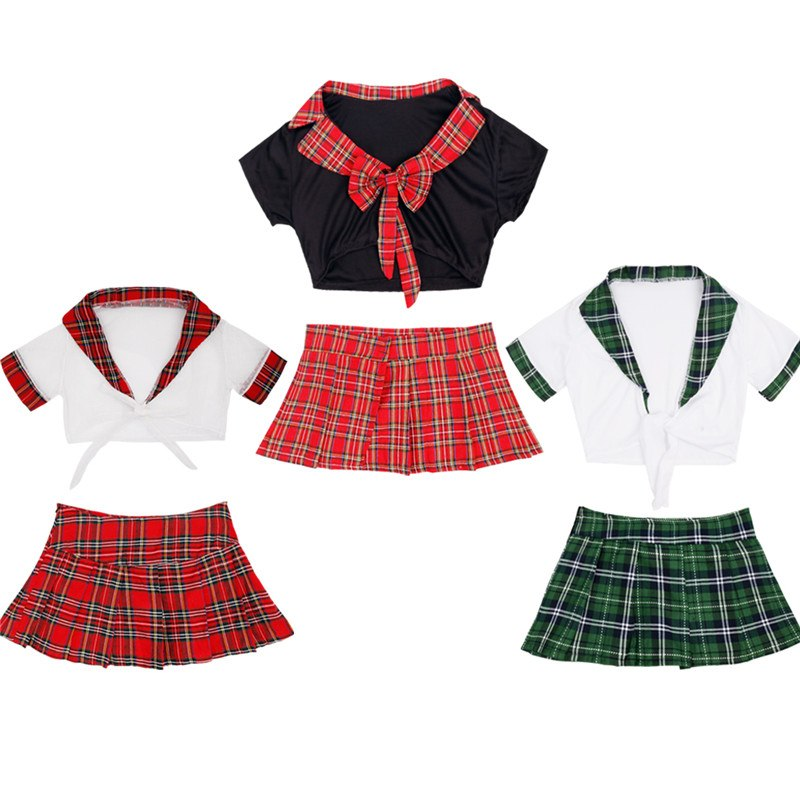 TiaoBug Women Sexy Japanese School Girl Uniform Cosplay Crop Top with Mini Plaid Skirt Women Naughty Role Play Hot Fancy Costume