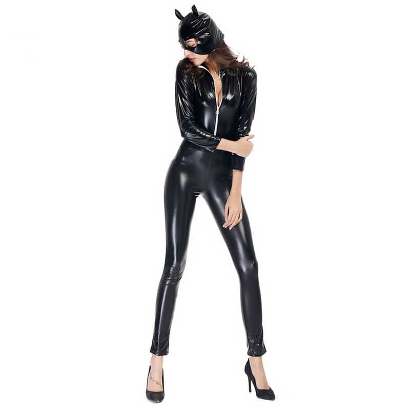 New Black Patent Leather Catsuit Sexy Catwoman Costume adults cosplay Bodysuit Stretchable jumpsuit carnival costumes womens