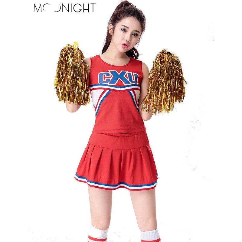 MOONIGHT Cheerleading Glee Cheerleader Costume Aerobics Clothing Uniforms for Performances Halloween Fancy Dress