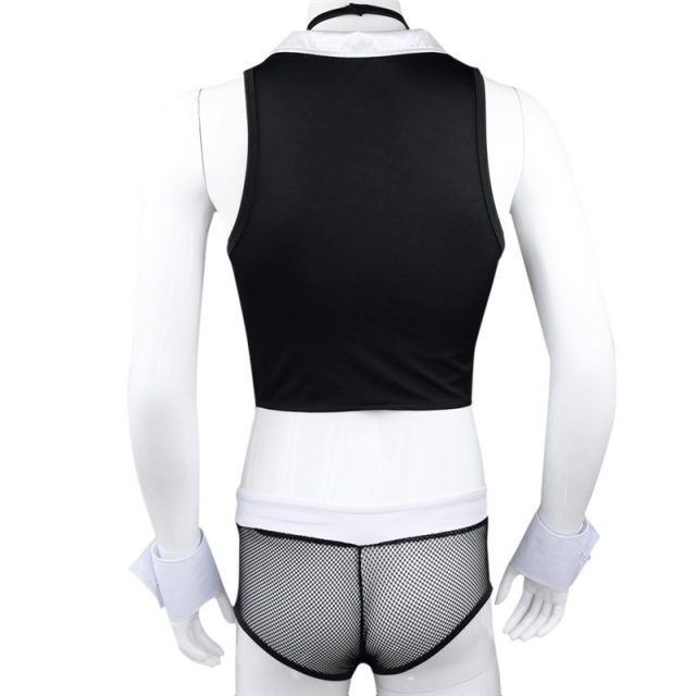 Sexy Maid Men Lingerie Role Play Costume Halloween Hot Erotic Men Maid Outfits Tops Underwear with Collar Handcuffs Lingerie Set