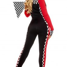 Sexy Race Girl Costume Race Car Driver Jumpsuit Plaid Long Sleeves Racing Car Girl Race Car Game Uniform