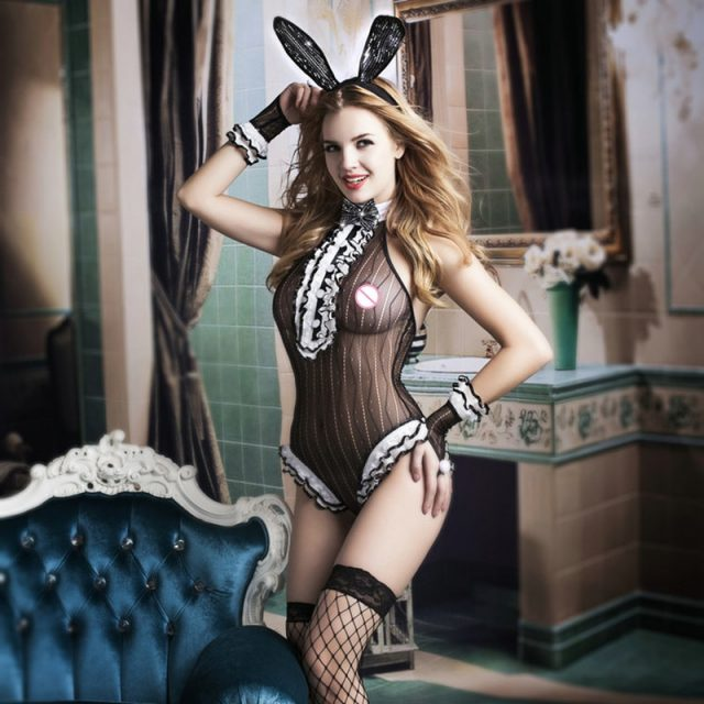 Adult Women Sexy Bunny Costume Halloween Rabbit Girl Cosplay Costume Erotic Party Outfit Fancy Babydoll Bunny Jumpsuit 9731
