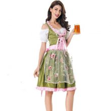 MOONIGHT Halloween German Beer Girl Costume Oktoberfest Costume Maid Germany Bavarian Print Short Sleeve Dress Dirndl For Women