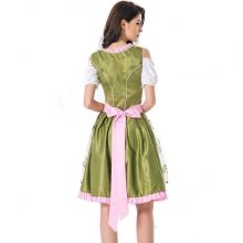 MOONIGHT Halloween German Beer Girl Costume Oktoberfest Costume Maid Germany Bavarian Print Short Sleeve Dress Dirndl For Women