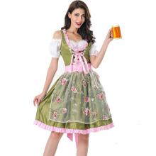 German Beer Costume Oktoberfest Maid Germany Bavarian Print Short Sleeve Dress Dirndl