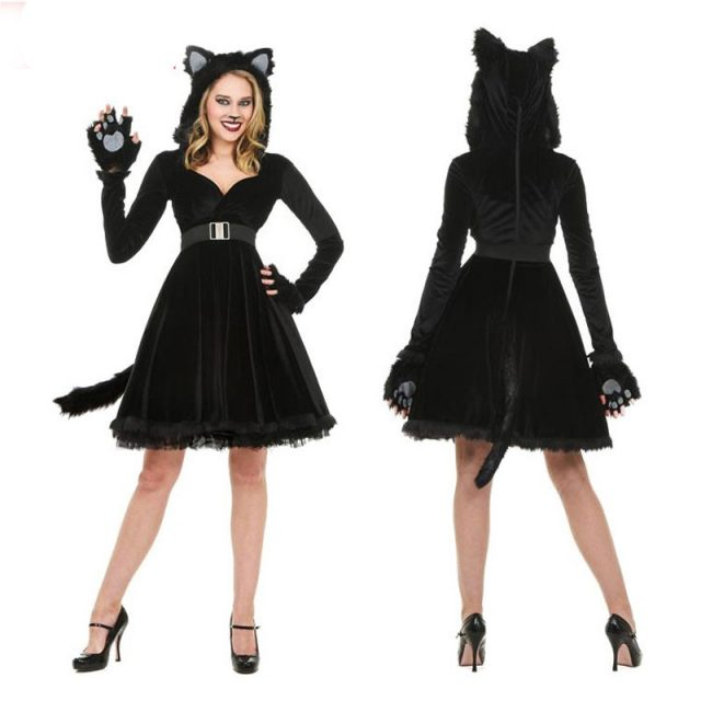 Black Plush Models Cat Girl Halloween Costume For Women Dress Cosplay Uniform Club Wear Party New Animal Womens Sexy Costume