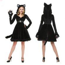 Black Plush Models Cat Girl Halloween Costume For Women Dress Cosplay Uniform Club Wear Party New Animal Womens Sexy Costume