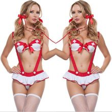 2018 New Sexy Women Ladies Nurse Doctor Outfit Costume Dress Set Cosplay Halloween Erotic Lingerie 3Pcs Not Incclude Socks