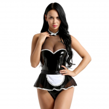 Womens Wetlook Sexy Costumes Patent Leather Maid Cosplay Halter Jumpsuit Apron Teddy Lingerie Fancy Dress Night Clubwear