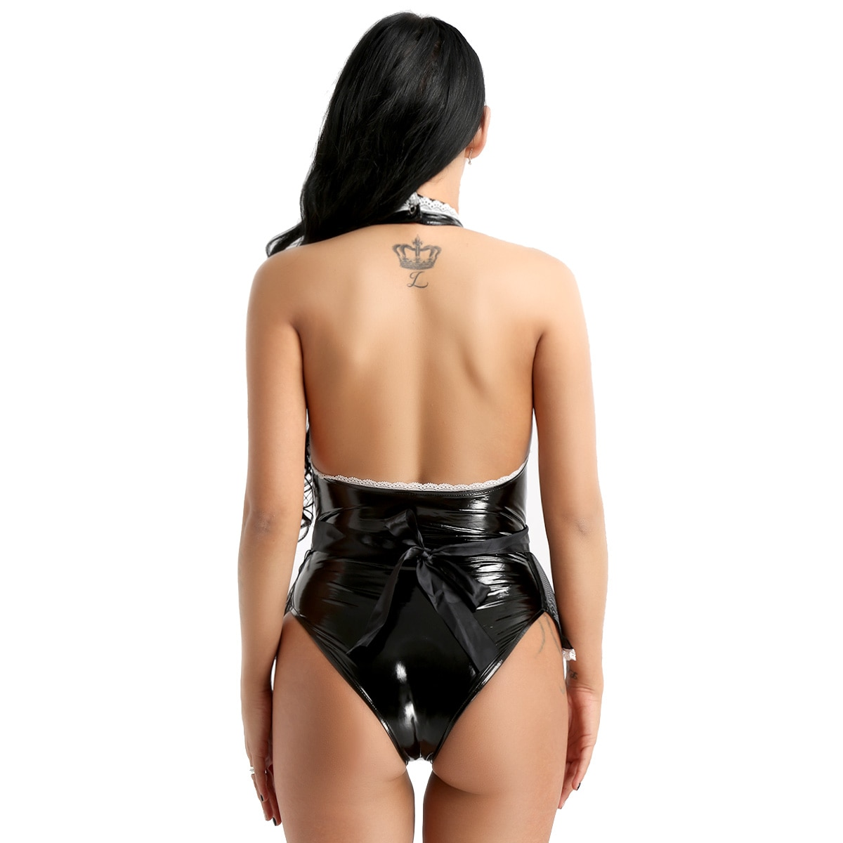 Womens Wetlook Sexy Costumes Patent Leather Maid Cosplay Halter Jumpsuit with Apron Teddy Lingerie Fancy Dress Night Clubwear