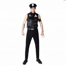 Sexy Couples Black Cop Costumes Halloween for Women Men Game Stage Bar Police Costume Cosplay