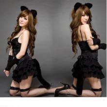 Black Spandex Catsuit Cat Cosplay Costume Sexy Bodysuit Uniforms Temptation Holloween Ears Dress Gloves