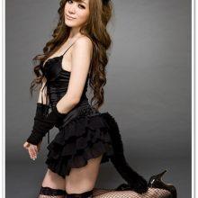 Black Spandex Catsuit Cat Women Cosplay Costume Sexy Bodysuit Uniforms Temptation Set Holloween Clothing Ears + dress + gloves