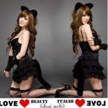 Black Spandex Catsuit Cat Women Cosplay Costume Sexy Bodysuit Uniforms Temptation Set Holloween Clothing Ears + dress + gloves
