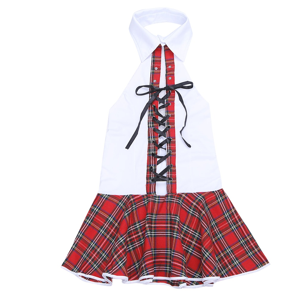 iEFiEL Women Sexy Halloween Lingerie Plaid Pattern Trim Costumes Halter Lace-up Plaid Sleeveless School Girl Cosplay Mini Dress