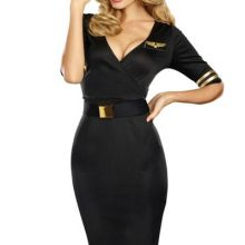 Flight Captain Costume For Women,Sexy Adult Women Pilot Costumes Mile-High Club Stewardess Dress Flight Attendant Uniform