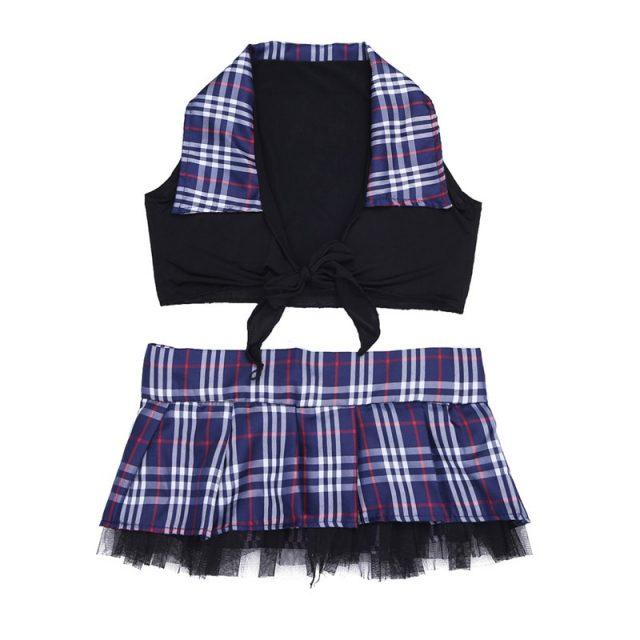 2Pcs/Set YiZYiF Sexy Cosplay School Girl Cosplay Uniform costume Lingerie Student Uniform Women Crop Top with Plaid Skirt