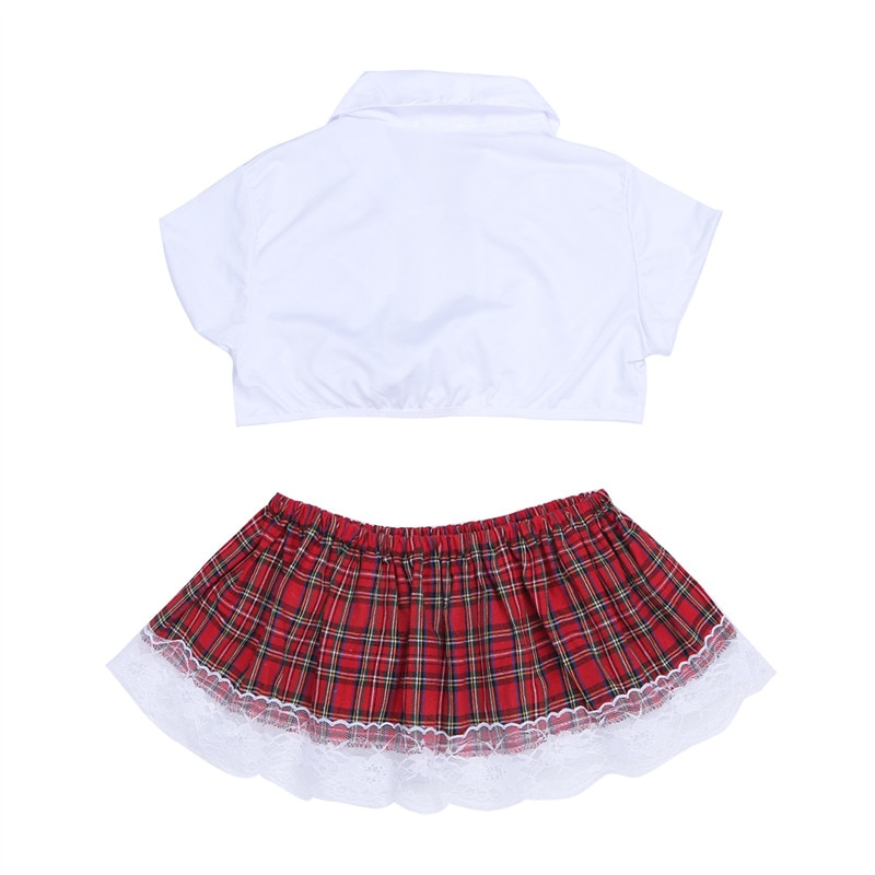 2Pcs/Set YiZYiF Sexy Cosplay School Girl Cosplay Uniform costume Lingerie Student Uniform Women Crop Top with Plaid Skirt