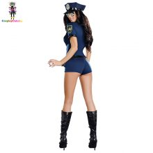 Blue Short Sleeve with Hat Female Police Suit,Put Your Hands Up Cop Costume Adult Sexy Police Women Costumes Sheriff Uniforms