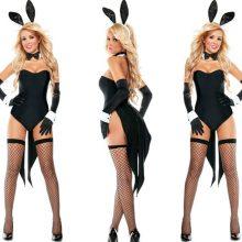 2018 New Bunny Girl Rabbit Costumes Women Cosplay Sexy Halloween Adult Animal Costume Fancy Dress Clubwear Party Wear Plus