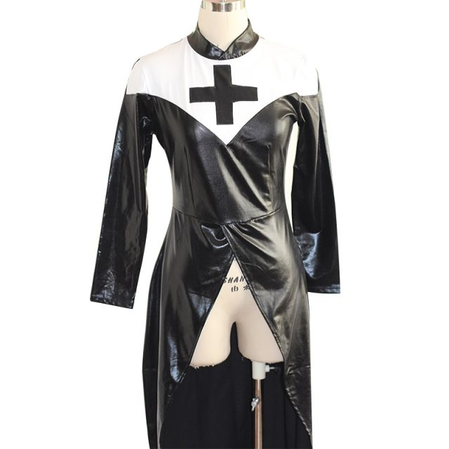 Sexy Wetlook Nun Costume Halloween Cosplay Plus Size M, L, XL, XXL Fashion Black Vinyl Leather Uniforms Carnival Erotic Costumes