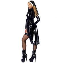 Sexy Wetlook Nun Costume Halloween Cosplay Plus Size M, L, XL, XXL Fashion Black Vinyl Leather Uniforms Carnival Erotic Costumes