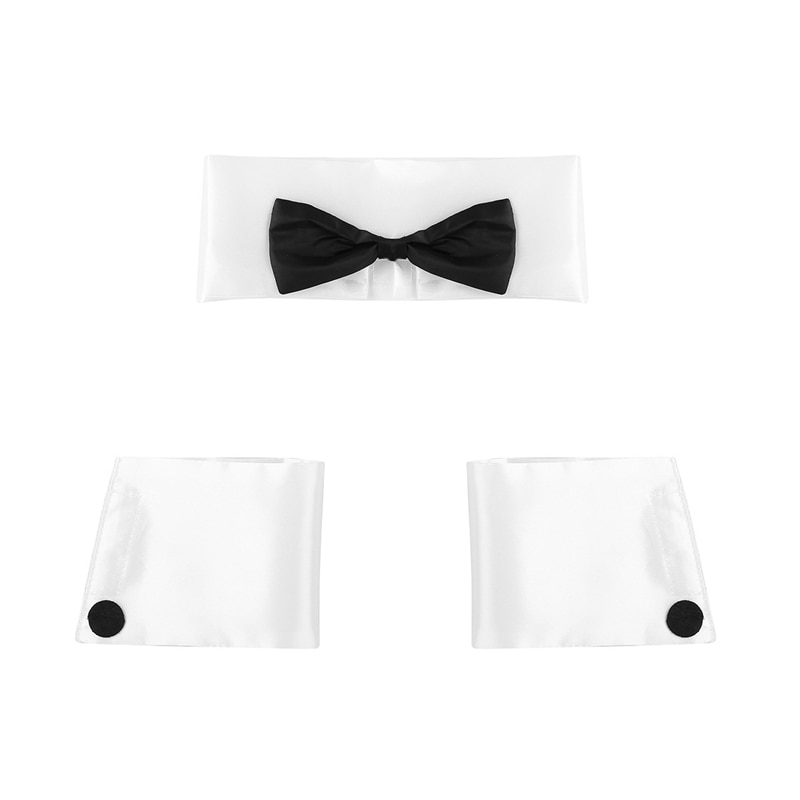 YiZYiF 3Pcs Sexy Mens Adults Dancer Costume Playboy Costume Accessories Collar and Cuff Set Male Dancer Sexy Stripper Cosplay