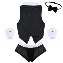 TiaoBug Mens Maid Role Play Costume Erotic Sexy Halloween Outfits Tops Boxer Briefs Underwear with Collar Handcuffs Lingerie Set