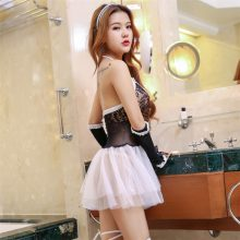 Sexy Princess lace mini dress Lady Lover bondage bow fishnet stocking halter costumes porn erotic Tie COSPLAY lingeries stripper