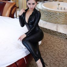 New Women Jumpsuit Spandex Sexy Black Cat Latex Catsuit Costumes Girls Body Suits Fetish Leather Dress Girl Cosplay Lingeries