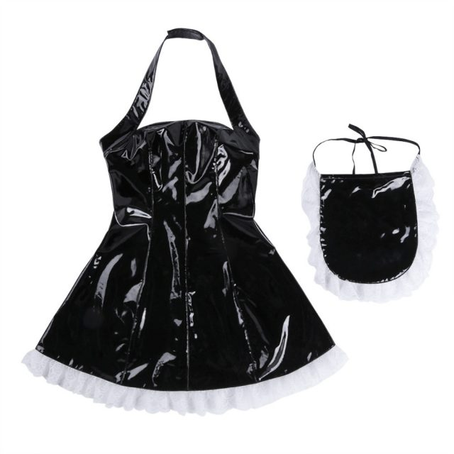 iEFiEL 3Pcs Women Wet Look Patent Leather Maid Dress Cosplay Costumes Maidservant Outfits Halter Dress with Apron with Neck Ring