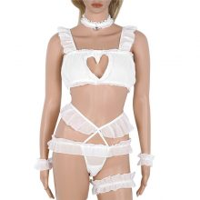 Anime Cute Cat Cosplay Costume Womens Sexy Keyhole Hollow Bra And Underwear Lolita Japanese Style Cosplay Lingerie Set