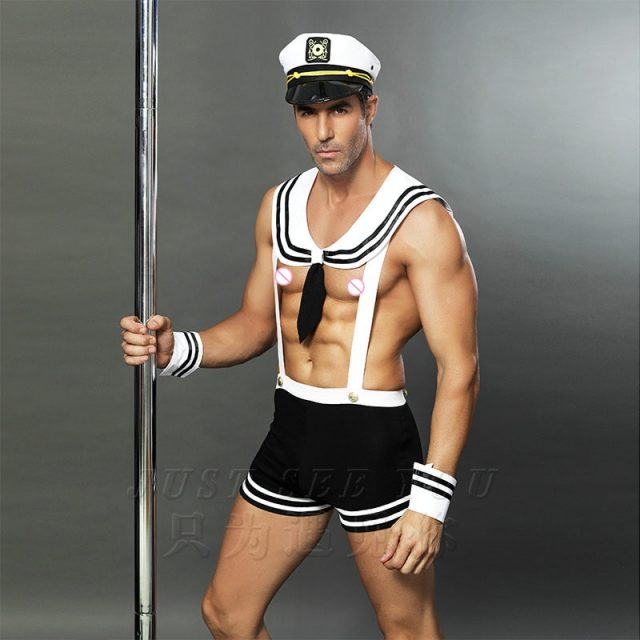 Adult Men Sexy Sailor Costume Hot Erotic Sexy Slim Fit White Seaman Uniform Carnival Festival Halloween Male Costumes 6613