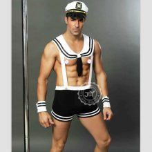Adult Men Sexy Sailor Costume Hot Erotic Sexy Slim Fit White Seaman Uniform Carnival Festival Halloween Male Costumes 6613