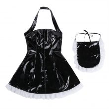 3Pcs Women Wet Look Patent Leather Maid Dress Cosplay Role Playing Costume Maidservant Outfits Halter Dress with Apron Neck Ring