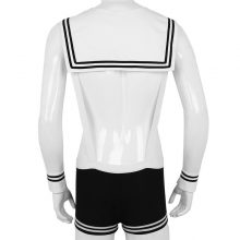 MSemis Mens Sexy Sailor Costume Overalls Cosplay Underwear Set Suspenders Boxer with Collar Cuffs Gay Halloween Costumes for Men