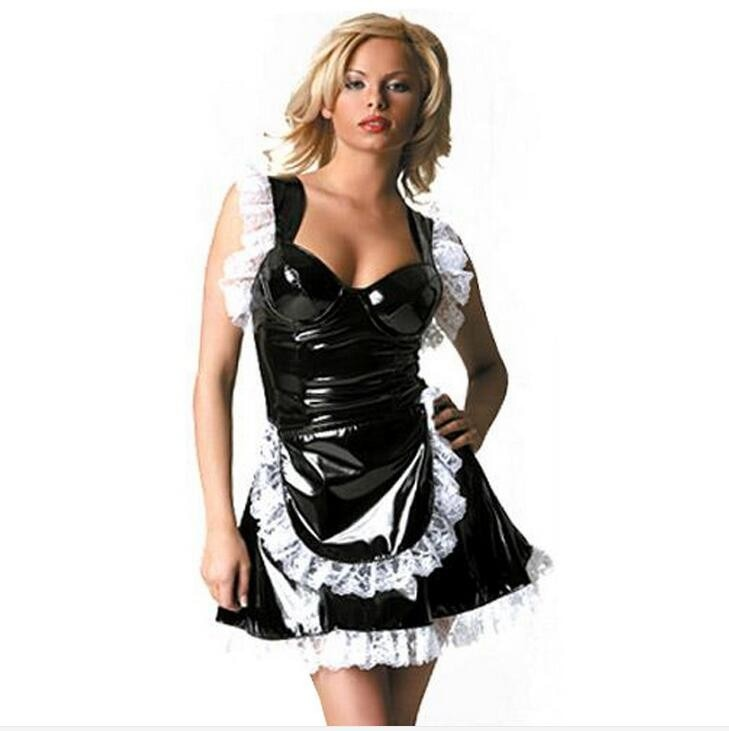 Fetish Punk Gothic Leather French Maid Cosplay Costume Sexy 100% PVC Lace Dress Halloween Latex Catsuit Nurse Lingerie S-XXL