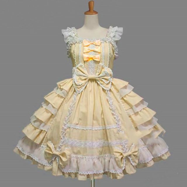 Women Alice Lolita Angel Pink Cotton Princess Dress Female Court-Style Gothic Tank Dress Cute Anime Maid Layered Dress For Girl