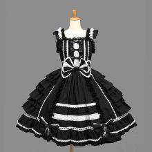 Women Alice Lolita Angel Pink Cotton Princess Dress Female Court-Style Gothic Tank Dress Cute Anime Maid Layered Dress For Girl
