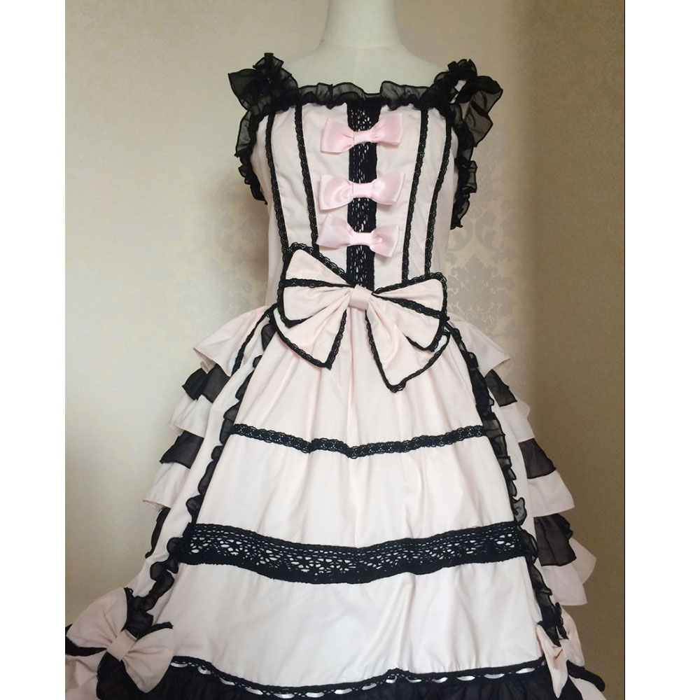 Classic Lolita Dress Women's Layered Cosplay Costume Cotton JSK Dress for Girl 10 Colors
