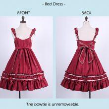 Lolita Dress Sweet Cute Kawaii Girls Shirt Princess Maid Vintage Gothic High Waist Skirt Red Black Pink Women Summer Skirt