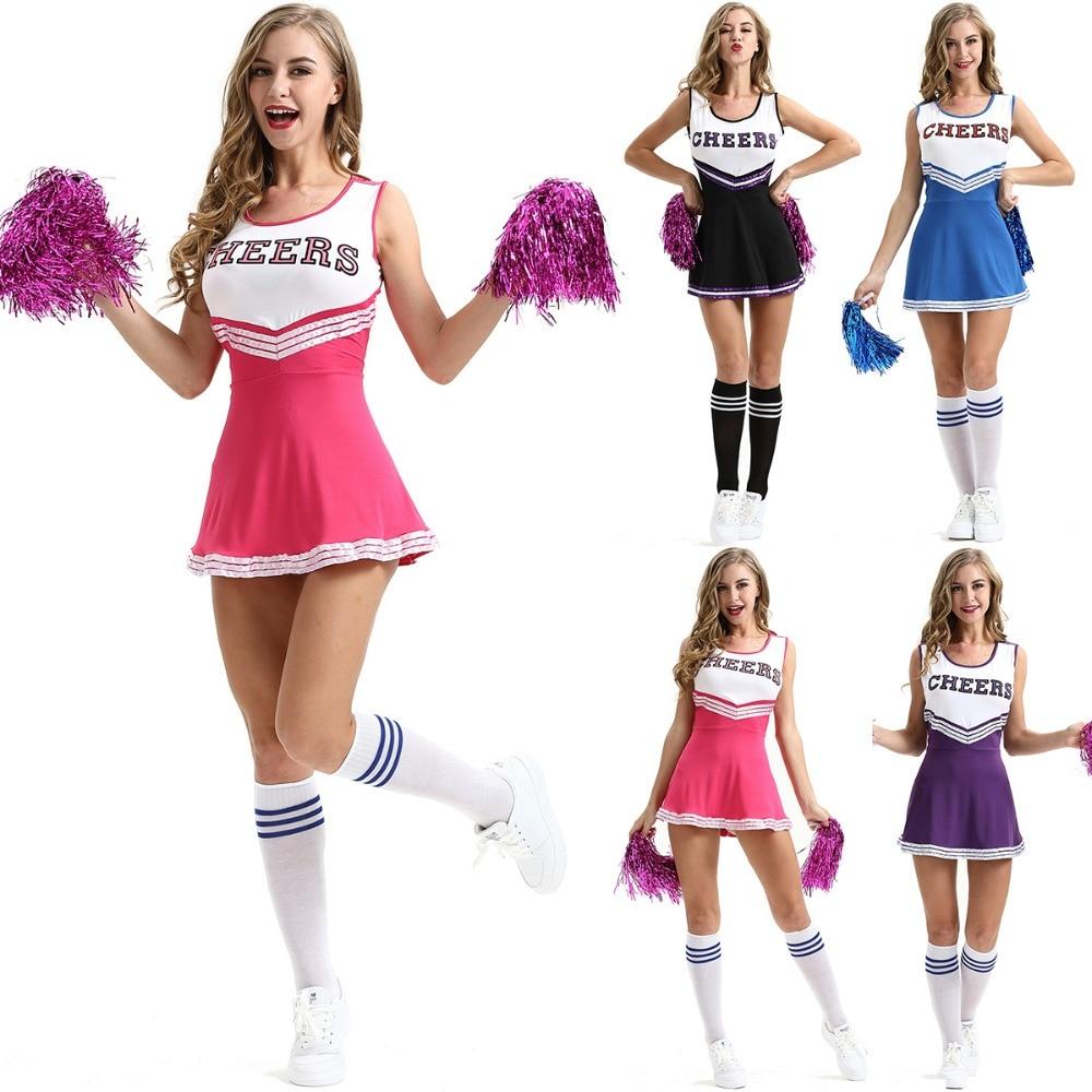 High School Girl Cheerleader Costume Cheer Uniform Cheerleading Dress Blue Black Pink Purple