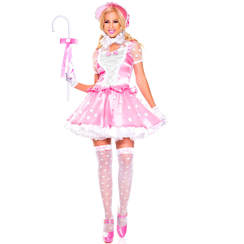 4Pcs Sweet Pink French Maid Costume Uniform Sexy Adult Dress up Meidofuku Anime Outfit Cosplay Costumes M40494