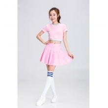 Sexy School Cheerleaders Costume 2pcs Costumetopskirt Pink Fancy Dress
