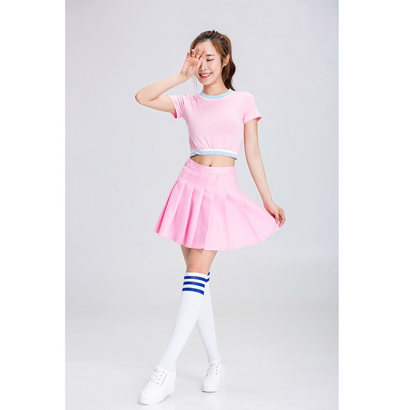 TITIVATE Sexy School Girls Cheerleaders Costume Sexy Women Costume 2pcs Cheerleaders CostumeTop+Skirt Pink Party Fancy Dress