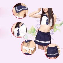 Hot pink Blue girls mini sailor suits Japanese School Student Uniform sexy cosplay novelty clothing Top+ mini skirt Full Set