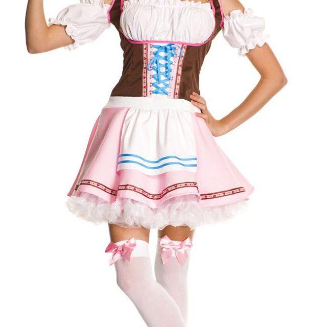 UTMEON  Pink White Sweet Beer Girl Costume Germany Oktoberfest Dress For Women Adult Beer Girl Uniform Cosplay