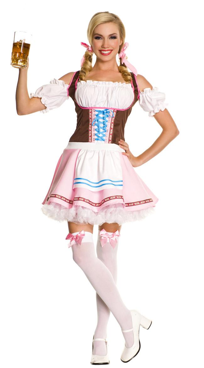 UTMEON  Pink White Sweet Beer Girl Costume Germany Oktoberfest Dress For Women Adult Beer Girl Uniform Cosplay